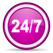 24 for 7 violet glossy icon on white background — 图库照片