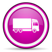 Delivery violet glossy icon on white background — Stock fotografie
