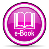 E-book violet glossy icon on white background — Stock Photo