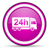Delivery 24h violet glossy icon on white background — ストック写真