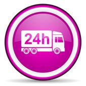 Icona lucido di consegna 24h viola su sfondo bianco — Foto Stock