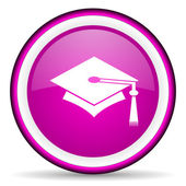 Graduation violet glossy icon on white background — Stock Photo