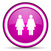 Couple violet glossy icon on white background — Stock Photo