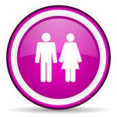 Couple violet glossy icon on white background — Stock Photo