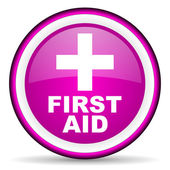 First aid violet glossy icon on white background — Stock Photo