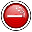 Smoking red glossy icon isolated on white background — Stock Photo
