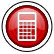 Calculator red glossy icon isolated on white background — Stock Photo #18055569