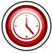 Clock red glossy icon isolated on white background — Stock Photo #18055913
