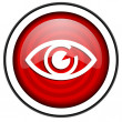 Eye red glossy icon isolated on white background — Stock Photo