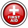 Stock Photo: First aid red glossy icon isolated on white background