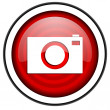 Camera red glossy icon isolated on white background — Stock Photo