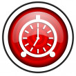 Stock Photo: Alarm clock red glossy icon isolated on white background