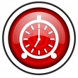 Alarm clock red glossy icon isolated on white background — Stock Photo #18056999