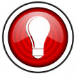 Light bulb red glossy icon isolated on white background — Stock Photo