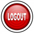 Logout red glossy icon isolated on white background - Stock Photo