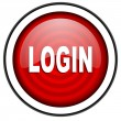 Login red glossy icon isolated on white background - Stock Photo