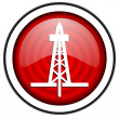 Drilling red glossy icon isolated on white background — Stock Photo