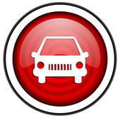 Car red glossy icon isolated on white background — Stock Photo