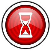 Time red glossy icon isolated on white background — Stock Photo