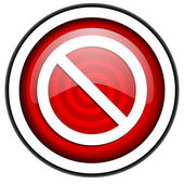Access denied red glossy icon isolated on white background — Stock Photo