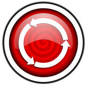 Refresh red glossy icon isolated on white background — Stock Photo