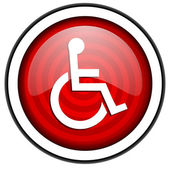 Accessibility red glossy icon isolated on white background — Stock Photo