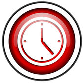 Clock red glossy icon isolated on white background — Stock Photo