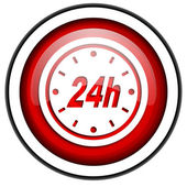 24h red glossy icon isolated on white background — Stock Photo