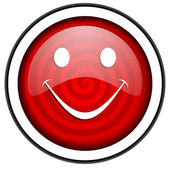 Smile red glossy icon isolated on white background — Stock Photo