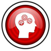 Head red glossy icon isolated on white background — Stock Photo