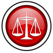 Justice red glossy icon isolated on white background — Stock Photo