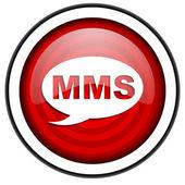 Mms красный блестящий значок, изолированные на белом фоне — Стоковое фото