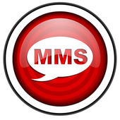 Mms red glossy icon isolated on white background — Foto Stock