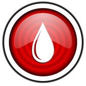 Water drop red glossy icon isolated on white background — Stock Photo