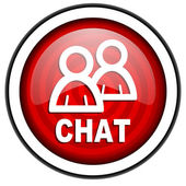 Chat red glossy icon isolated on white background — Stock Photo