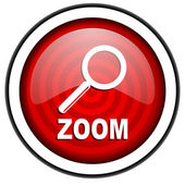 Zoom red glossy icon isolated on white background — Stock Photo