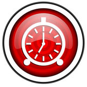 Alarm clock red glossy icon isolated on white background — Stock Photo