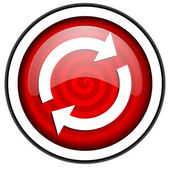 Reload red glossy icon isolated on white background — Stock Photo