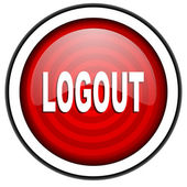 Logout red glossy icon isolated on white background — Stock Photo