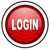 Login red glossy icon isolated on white background — Stock Photo