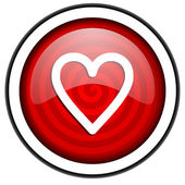 Heart red glossy icon isolated on white background — Stock Photo