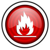 Flames red glossy icon isolated on white background — Stock Photo
