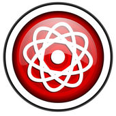 Atom red glossy icon isolated on white background — Stock Photo