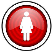 Woman red glossy icon isolated on white background — Stock Photo