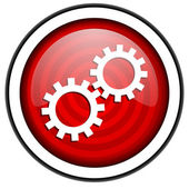 Gears red glossy icon isolated on white background — Stock Photo