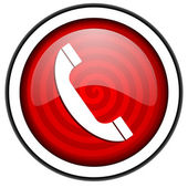 Phone red glossy icon isolated on white background — Stock Photo