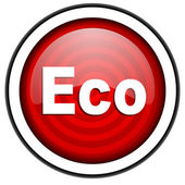 Eco red glossy icon isolated on white background — Stock Photo