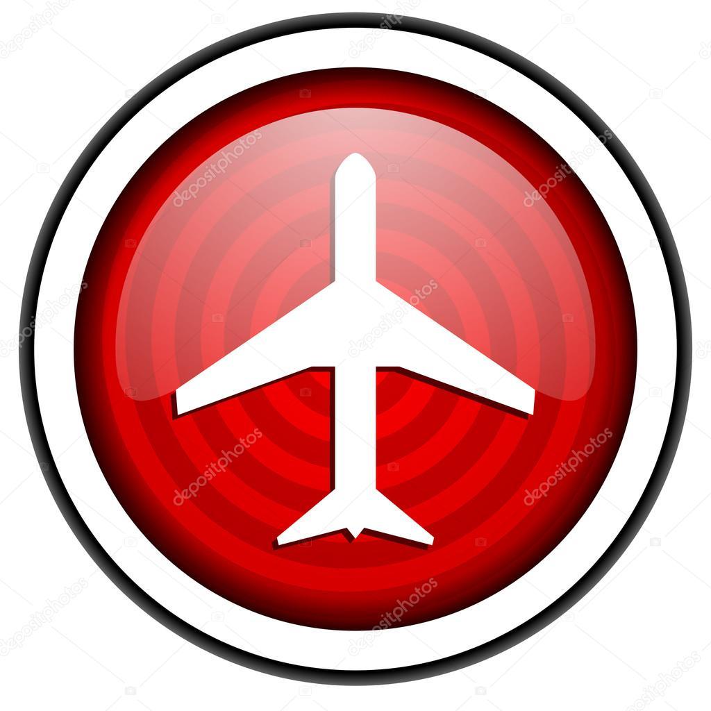 孤立在白色背景上的飞机红色光泽图标