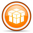 Box orange glossy icon on white background — Stock Photo