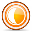 Moon orange glossy icon on white background — Stock Photo